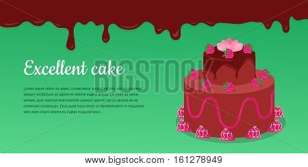 Delicious cake. Excellent cake. Strawberry pie vector Illustration. Flat design. Home baking. Tasty sweet fruit cake, covered glaze, with berry. For bakery, confectionery, cafe advertising, menu app
