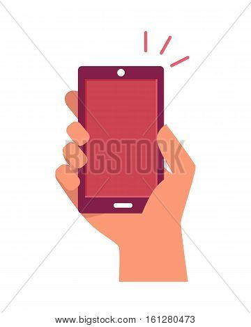 Mobile phone in hand ringing up isolated on white. Telephone or smartphone sale concept. Shopping via internet shop. Online communication device. Web sale, e-commerce, convenience and mobile. Vector