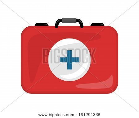 Medical kit icon isolated on white. Realistic emergency bag with red cross. Metal red briefcase. Health care concept. First medical aid. Suitcase with medical equipment and drugs in flat style. Vector