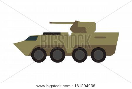 Armored personnel carrier with small-caliber cannon on turret in camouflage color vector illustration isolated on white background. Army machine. For military concepts, infographics, icons, web design