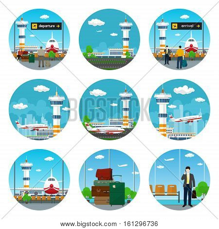 Set of Airport Icons, Waiting Room with People, Scoreboard Departures and Arrivals, Luggage Bags for Traveling, Airplane Arrives and Stands on the Runway and Fly away from Airport Terminal, Vector