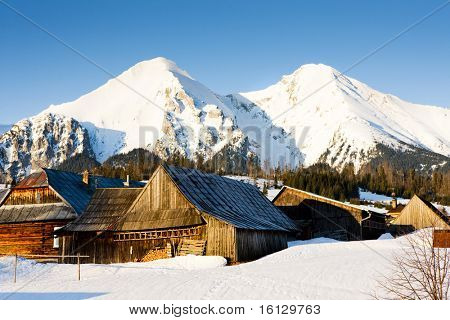 Zdiar and Belianske Tatry (Belianske Tatras) in winter, Slovakia