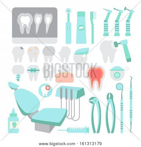 Dental care. Dentist instrument tools set. Teeth problems and dental treatment. Visit doctor. Flat design vector illustration.