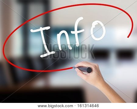 Woman Hand Writing Info With A Marker Over Transparent Board