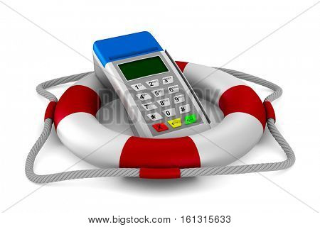 lifebuoy and pos terminal on white background. Isolated 3D image