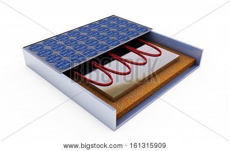 Cutaway of Solar Panels 3D rendering isolated on white background
