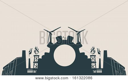 Energy and Power icons set. Header or footer banner. Sustainable energy generation and heavy industry. Vector illustration.