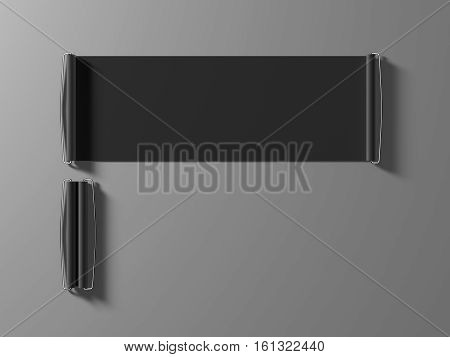 Blank black hand held banner mockup 3d rendernig. Dark closed and opened roll up canvas mock up. Grey handheld promotional retractable scroll. Rolling sign for sport club branding presentation.