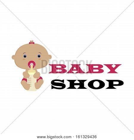 Baby shop logo. pattern for decoration or design. Vector illustration. Baby shower or arrival