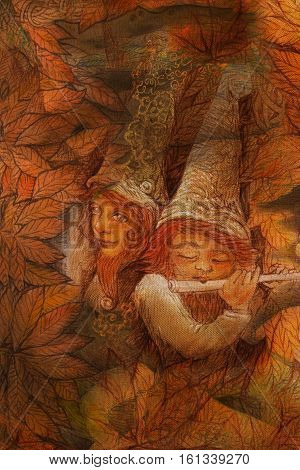 two gnome friends playing music together in autumnal woodland.