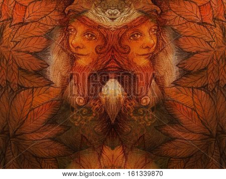 collage with autumn leaves and two faces from fairy folk with mirror effect.