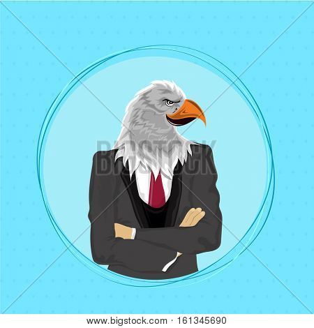 Creative Anthropomorphic design, Eagle Bird with arms crossed and dressed up in modern suit, Fashion bird illustration, Half Human and Half Animal concept.