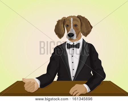 Fashion Animal illustration, Dog dressed up in suit, Creative Anthropomorphic design, Half Human and Half Animal concept.