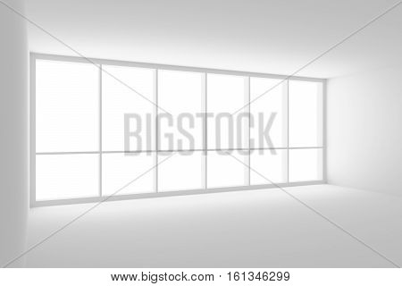 Business architecture white colorless office room interior - empty white office room with white floor white ceiling white walls and large window and empty space 3d illustration