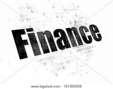 Finance concept: Pixelated black text Finance on Digital background