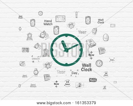 Time concept: Painted green Clock icon on White Brick wall background with  Hand Drawing Time Icons