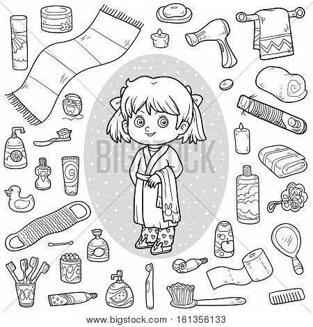 Vector colorless set of bathroom objects, little girl and bathrobe