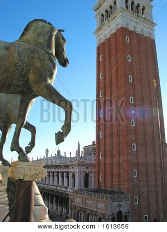 Horse Statue And A High Palace Tower, Saint Marc Place, Venice, Italia
