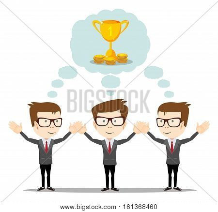Businessman dreaming about success. dreams come true- symbolizing strategic thinking, creativity and teamwork.Vector flat illustration
