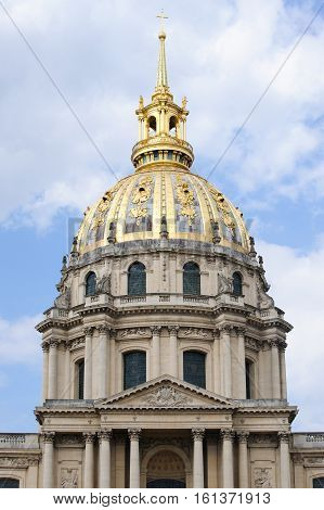 France, Paris - July 30, 2014: Fragment Of The Facade Of The Cathedral Of St. Louis Of The Invalides