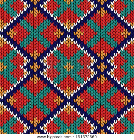 Seamless Knitted Rhombus Multicolor Pattern
