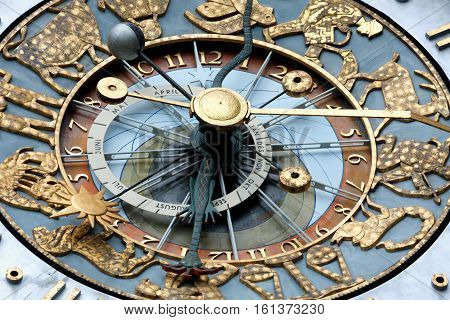 closeup look of Clock. Exterior of the Oslo City Hall in Oslo Norway