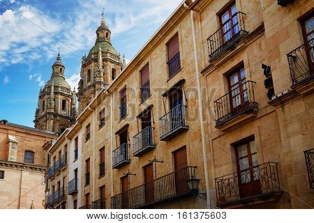 Salamanca university and Clerecia church in Spain exterior image shot from public floor