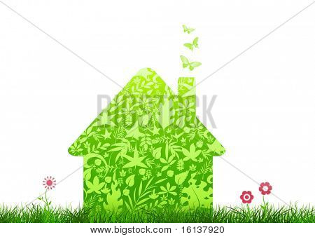 green house nature ecology architecture on white background with flowers