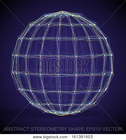 Abstract geometry shape: Multicolor sketched Sphere with Transparent Shadow. Hand drawn 3D polygonal Sphere. EPS 10, vector illustration.