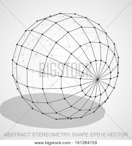 Abstract geometry shape: Black sketched Sphere with Transparent Shadow. Hand drawn 3D polygonal Sphere. EPS 10, vector illustration.