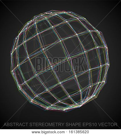 Abstract stereometry shape: Multicolor sketched Sphere with Reflection. Hand drawn 3D polygonal Sphere. EPS 10, vector illustration.