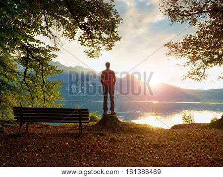 Boy In Red Jacket And Black Trousers Stand On Tree Stump. Empty Wooden Bench