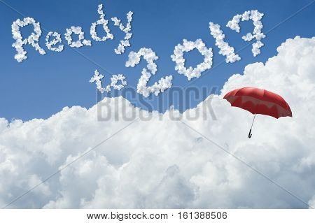 Red Umbrella Floating Above Against Blue Sky And Cloud.sunny Day.cloudscape.close Up The Cloud.text