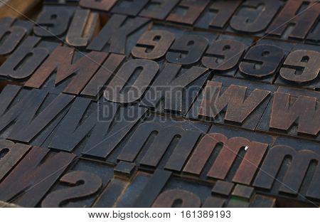 Old Wooden Vintage Typography Printing Blocks