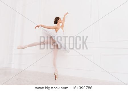 Good chance. Beautiful young female standing on one leg in semi position wearing white leotard with tutu holding left hand and right leg in diagonal