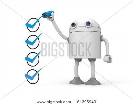 Robot and green checkmarks. Checklist metaphor. 3d illustration
