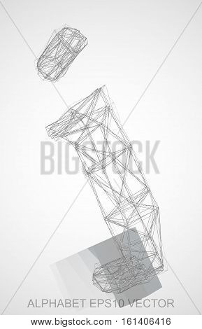 Abstract illustration of a Pencil sketched J with Reflection. Hand drawn 3D J for your design. EPS 10 vector illustration.