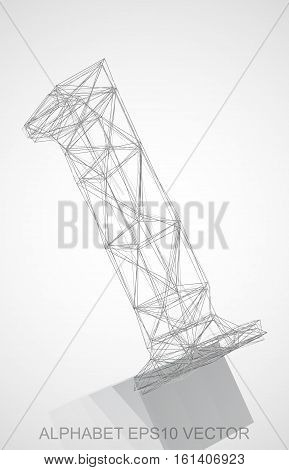 Abstract illustration of a Pencil sketched L with Reflection. Hand drawn 3D L for your design. EPS 10 vector illustration.