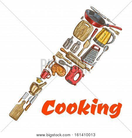 Kitchen ax hatchet emblem made of cooking utensils. Vector sketch elements of kitchenware electric kettle, saucepan, frying pan, cooking glove, cup, mixer, grater, mortar, cup, salt, pepper, spatula, knife Kitchen decoration design