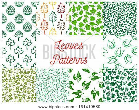 Leaves seamless pattern set with green foliage and stems of plants and herbs, tree branches and shrub twigs on white background. Wallpaper and fabric print, nature and ecology themes design