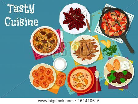 Greek and russian lunch dish icon with meatball, pickled vegetables, fried fish, almond cookie, mushroom cream soup, cured plum fruit and sauerkraut soup. Restaurant menu design