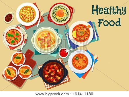 Popular soup of world cuisine icon with french onion soup, italian tomato bean soup, mexican bean soup, russian sour soup, finnish salmon soup, duck beet soup, seafood chowder, lamb soup