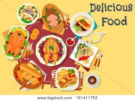 Meat and fish dishes for dinner icon of baked goose with vegetable, fruit and nut stuffings, fish with beet, asparagus and chilli, pork loin and lamb ribs with spices, turkey with potato