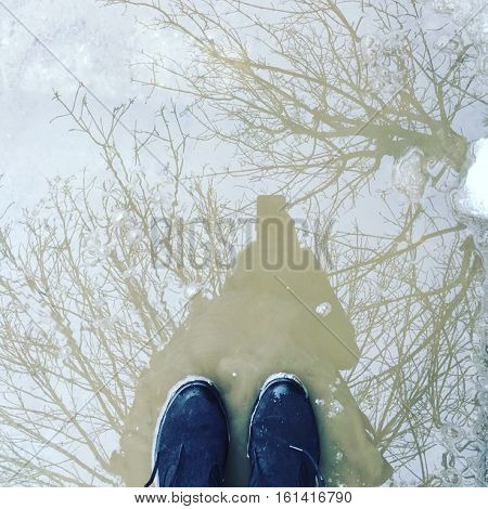 Standing in a puddle of melting snow winter spring weather nature image with reflection of trees in the sky water image conceptual background with room for copy space