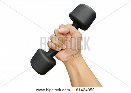 Hands Holding Dumbbells On White Background