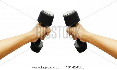 Hands holding dumbbells in sport club on white background