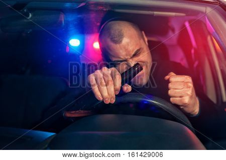 Upset Drunk Driver In Car Is Caught By Police