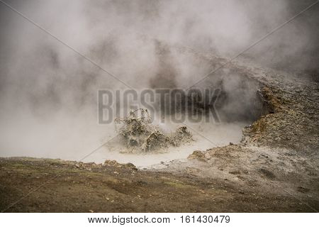 Gunnuhver mud pools and steam vents, Reykjanes, Iceland