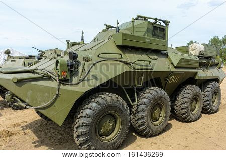 Tyumen, Russia - June 11, 2016: Race of Heroes project on ground of the highest military school. R-149 MA1 command vehicle