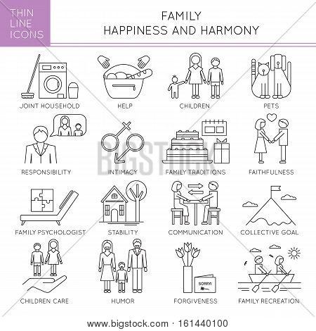 Thin line icons set, vector illustration. Happy family, parents and children, fundamentals of harmony in couple relationships. Strong metaphors, isolated symbols. Simple mono linear design.